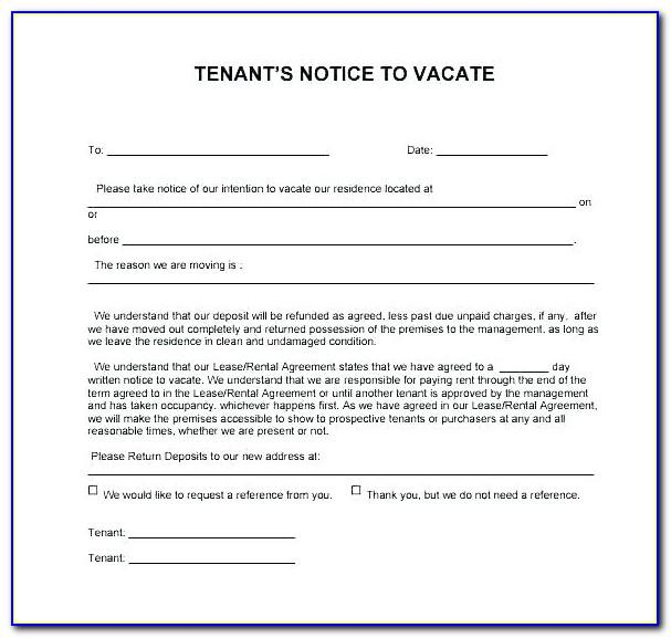 Tenant Notice To Vacate Form California