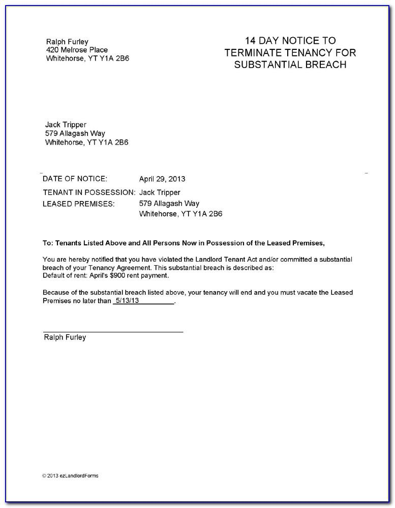 Tenant Rental Termination Notice Template