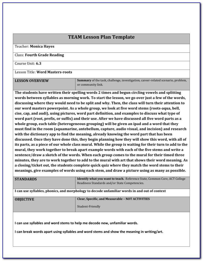 Tennessee Benchmark Lesson Plan Template