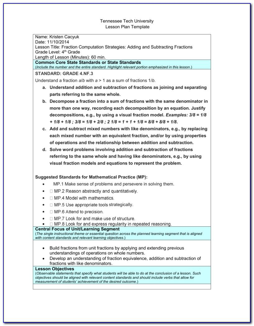 Tennessee Tech Lesson Plan Template