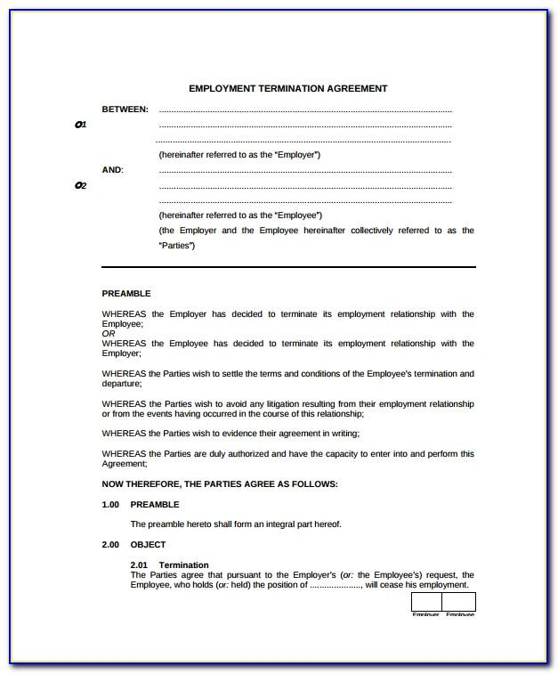 Termination Notice Of Employment Contract