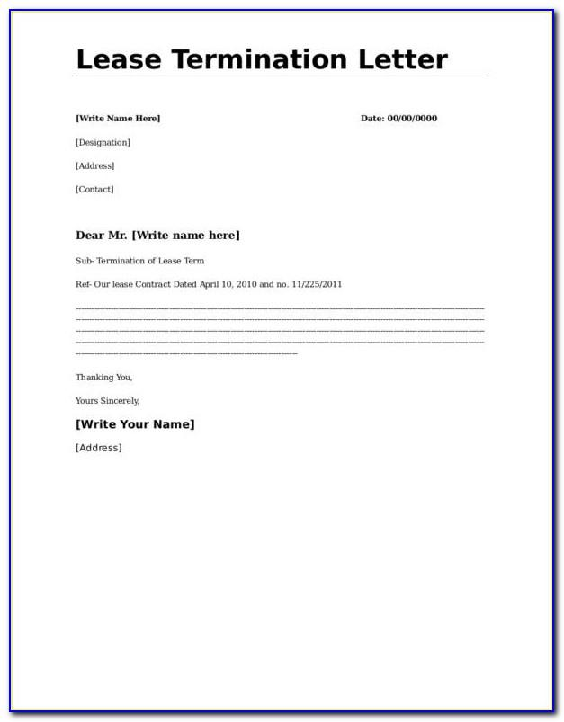 Termination Of Lease Agreement Letter Template