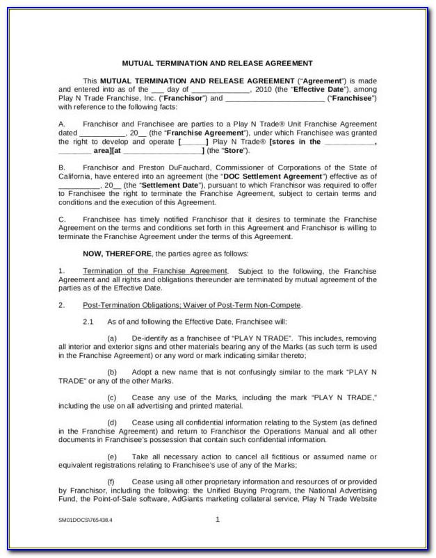 Termination Of Lease Agreement Sample Letter