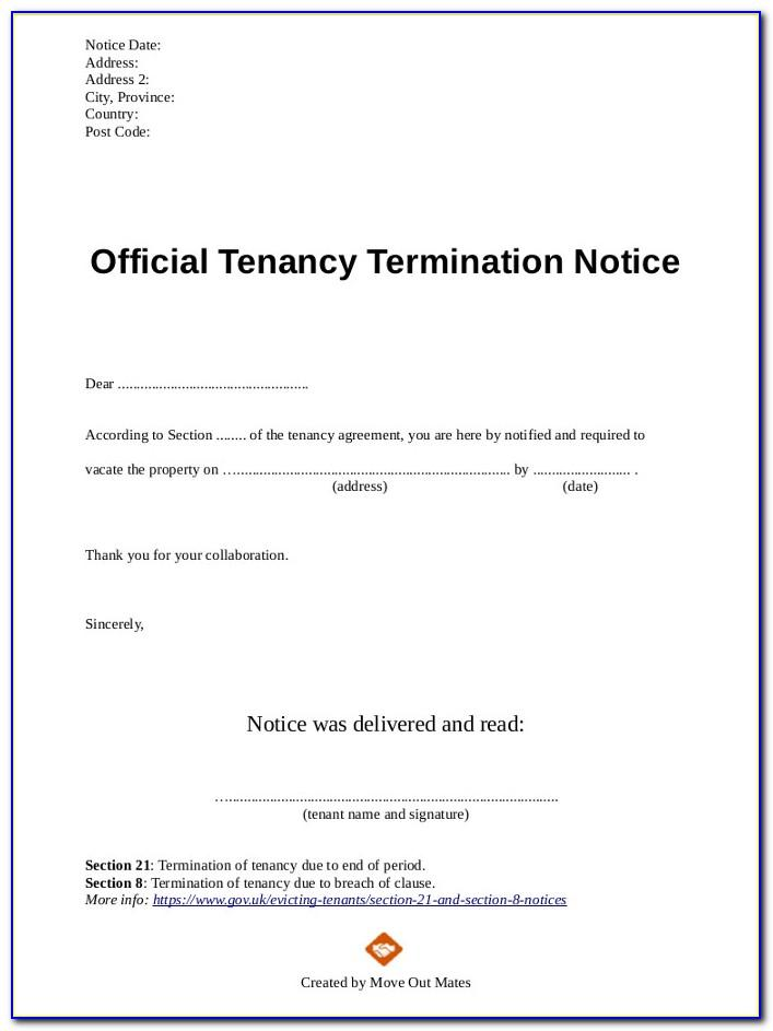 Termination Of Lease Agreement Template Uk
