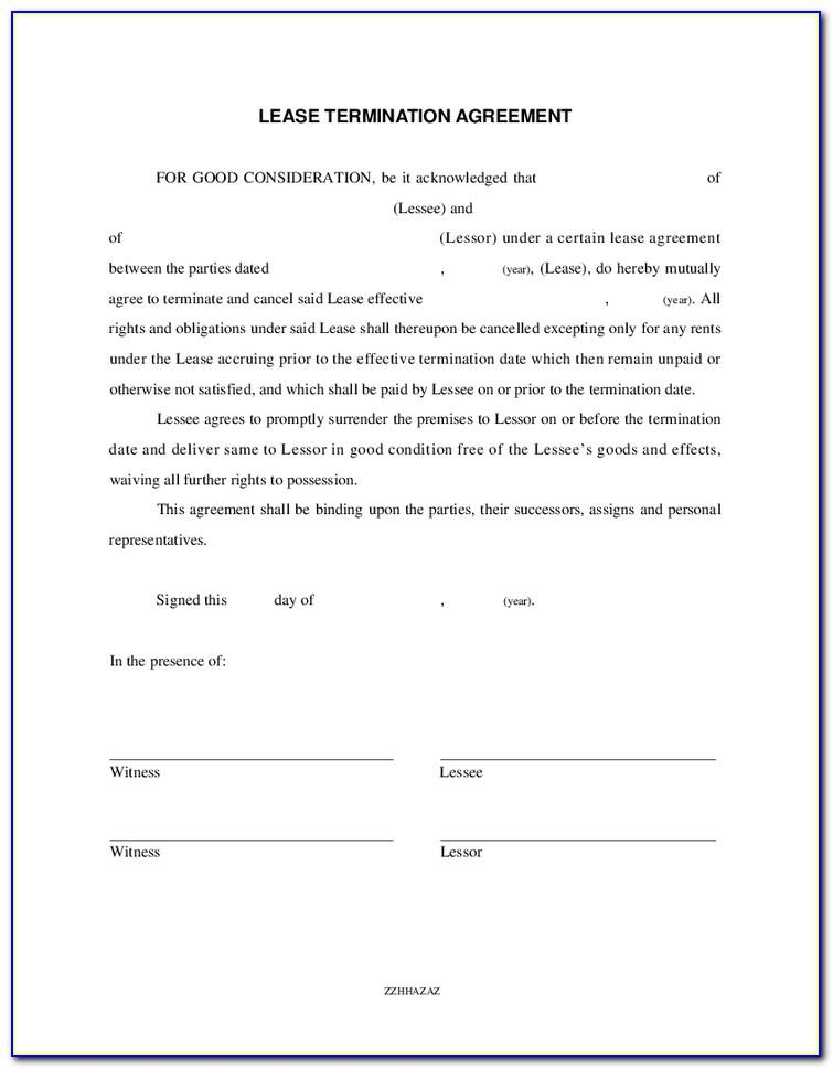 Termination Of Rental Agreement Example