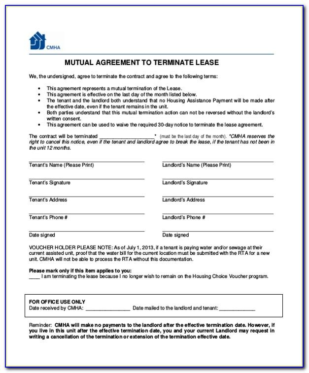 Termination Of Rental Agreement Form