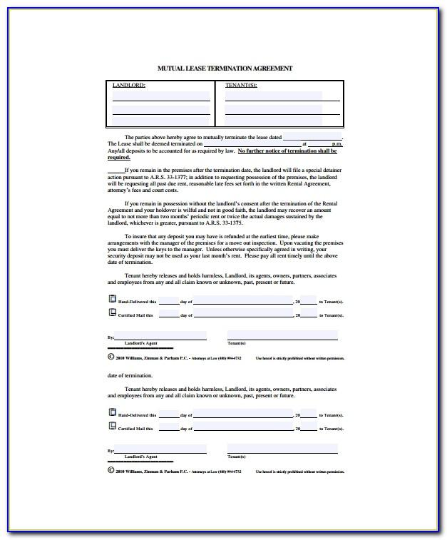 Termination Of Rental Agreement Format
