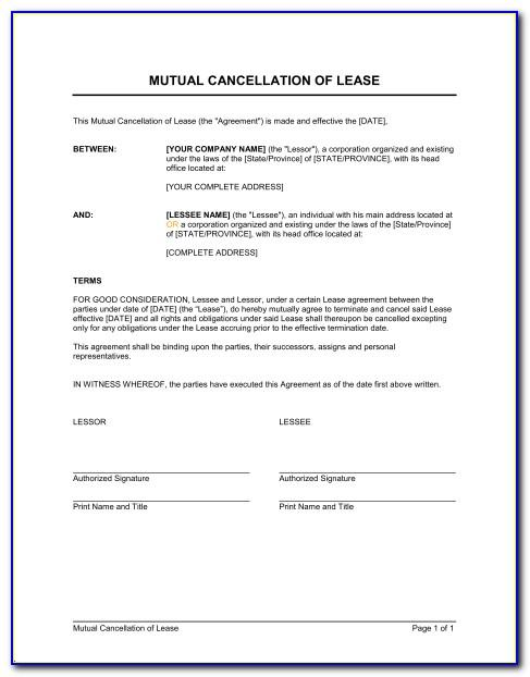 Termination Of Rental Agreement Sample
