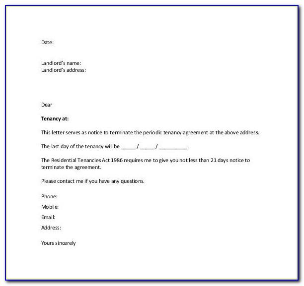 Termination Of Tenancy Contract Letter Sample
