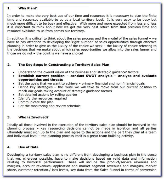 Territory Sales Plan Template Excel