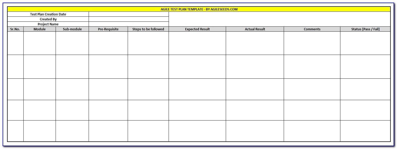 Test Plan Template Agile Methodology