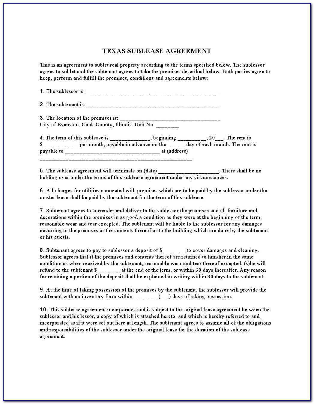 Texas Commercial Lease Agreement Template