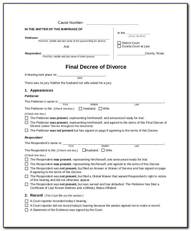 Texas Divorce Decree Forms Free