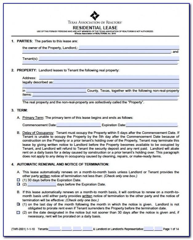 Texas House Rental Agreement Form