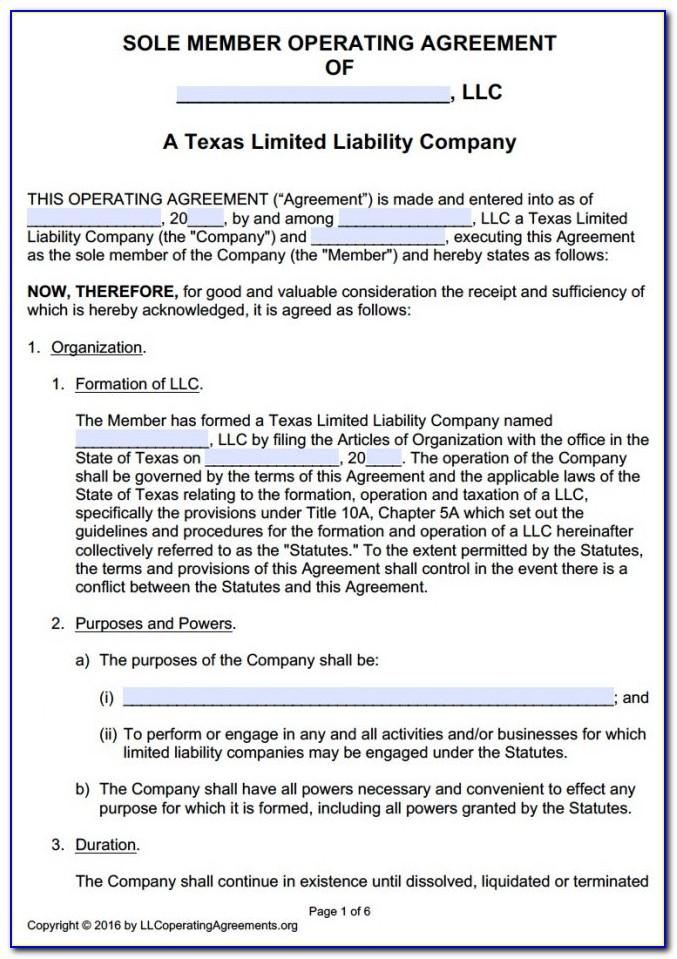 Texas Llc Bylaws Template