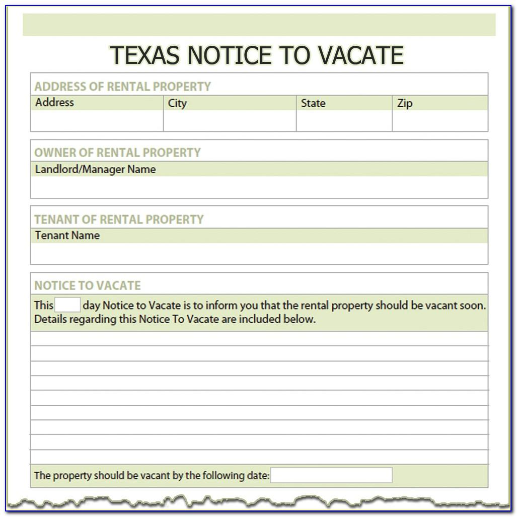 Texas Tenant Notice To Vacate Form