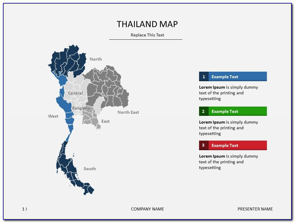 Thailand Map Powerpoint Templates