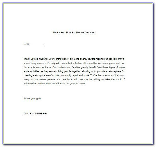 Thank You For Your Donation Letter Template