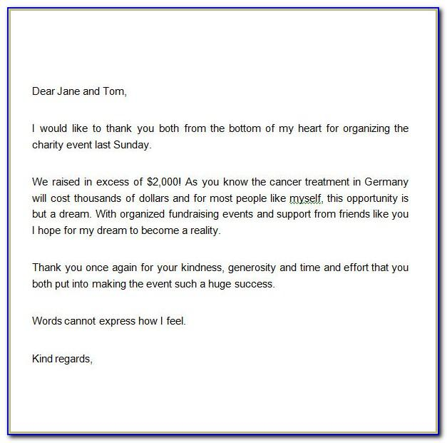 Thank You Letter Example For Donation