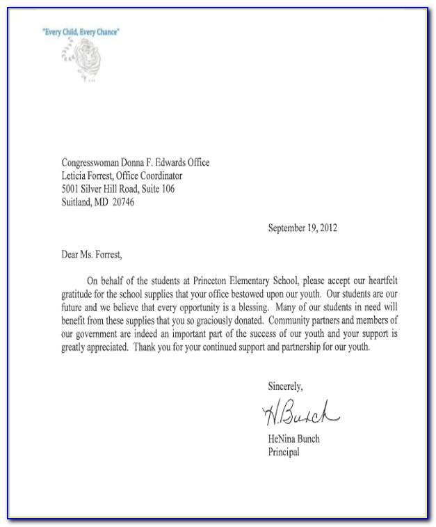 Thank You Letter For Book Donation To School Library