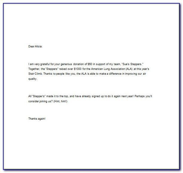 Thank You Letter For Charitable Donations Template