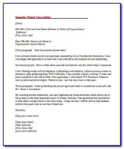 Thank You Letter For Donation To School