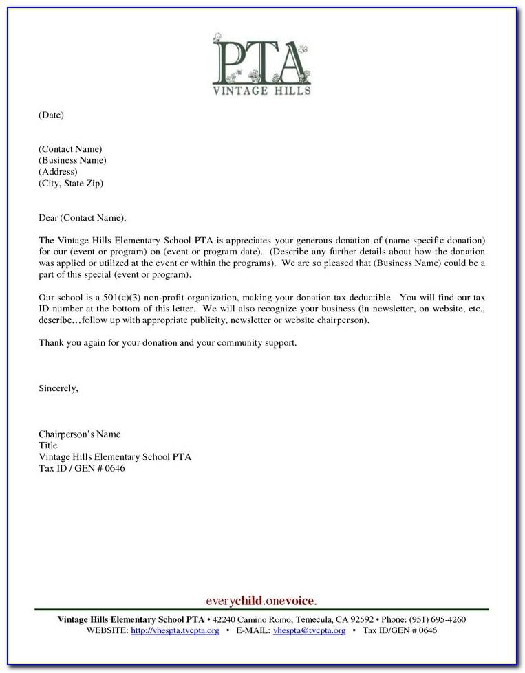 Thank You Letter For Food Donation To School
