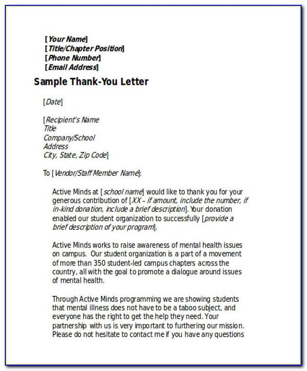 Thank You Letter For Money Donation To School