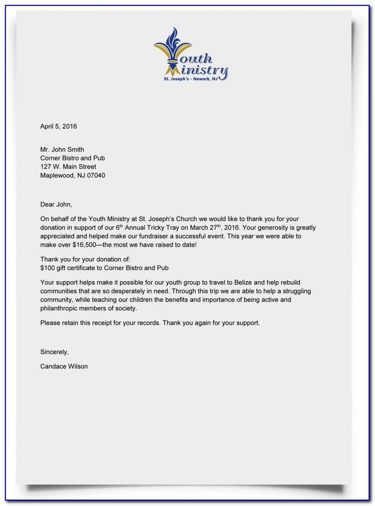 Thank You Letter Sample For Donation To Nonprofit
