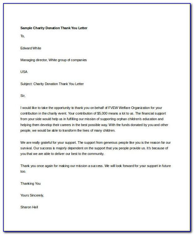 Thank You Letter Template For Donations