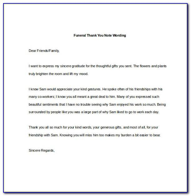 Thank You Notes For Donations Made In Memory Of Someone