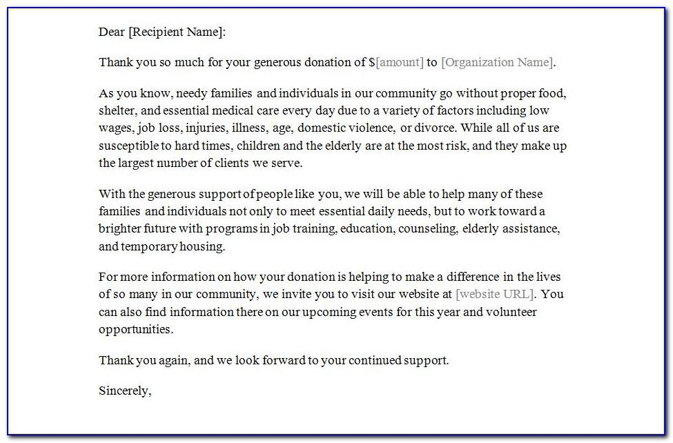 Thank You Notes For Donations To Church
