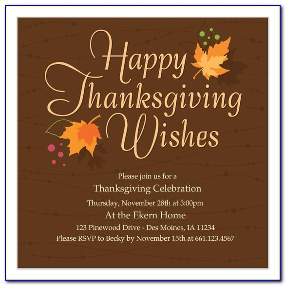 Thanksgiving Dinner Invitation Wording Samples