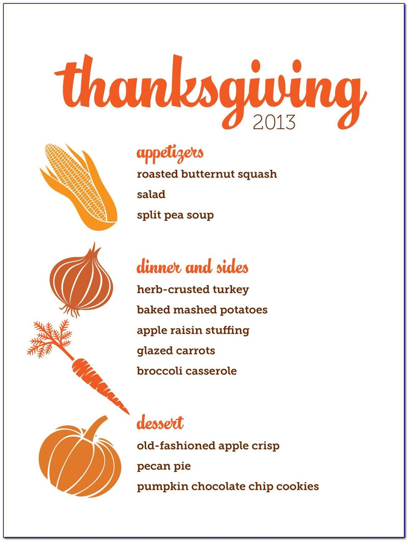 Thanksgiving Dinner Menu Template Free