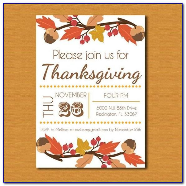 Thanksgiving Invitation Templates Printable