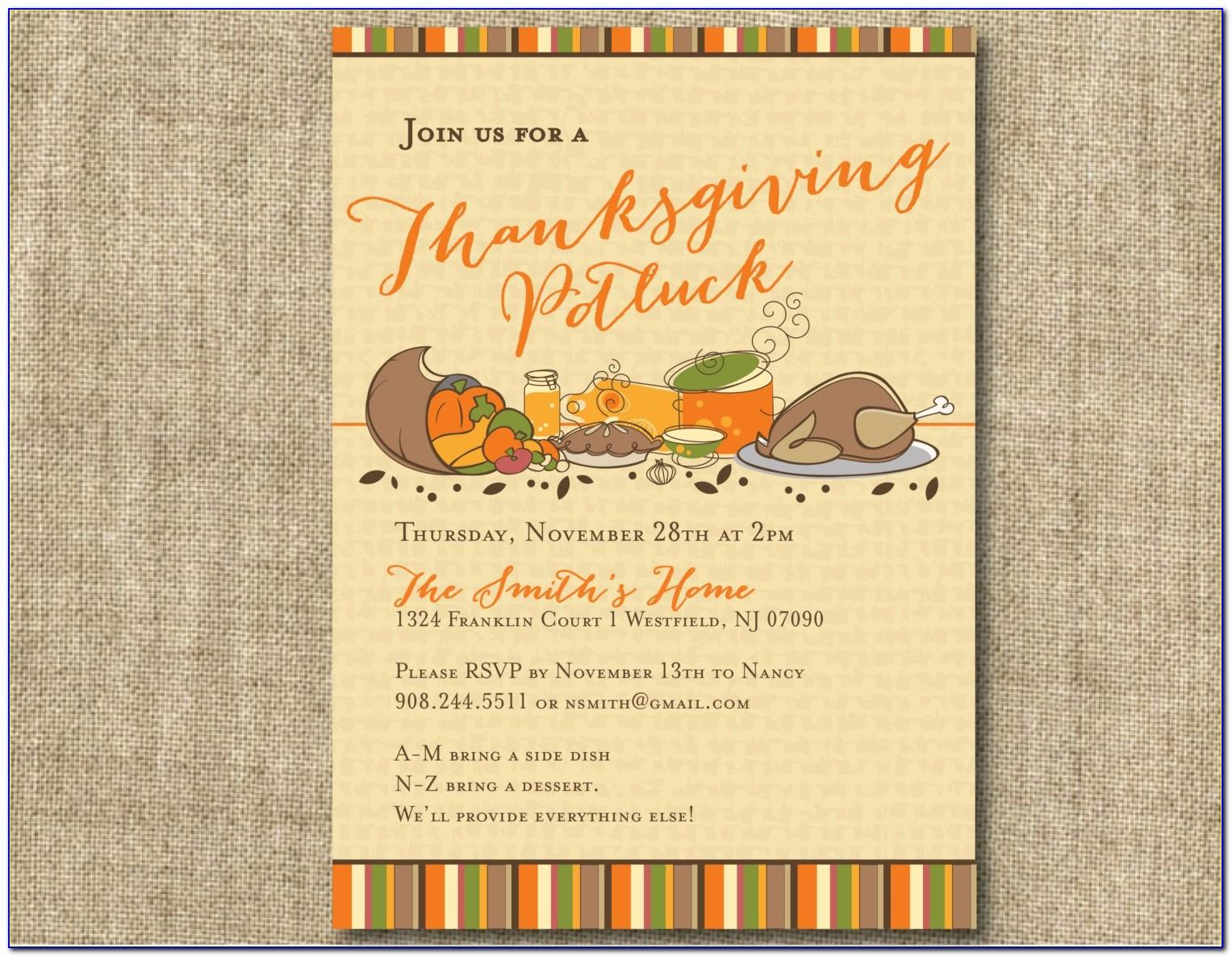Thanksgiving Potluck Invitation Template Free Printable