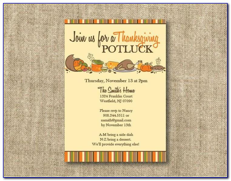 Thanksgiving Potluck Invite Template