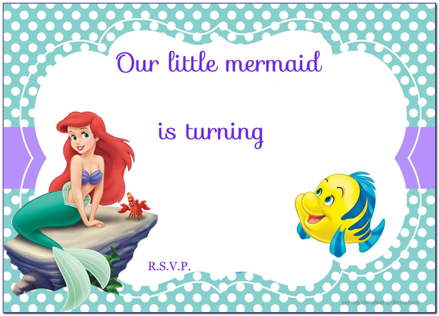 The Little Mermaid Birthday Invitations Templates Free