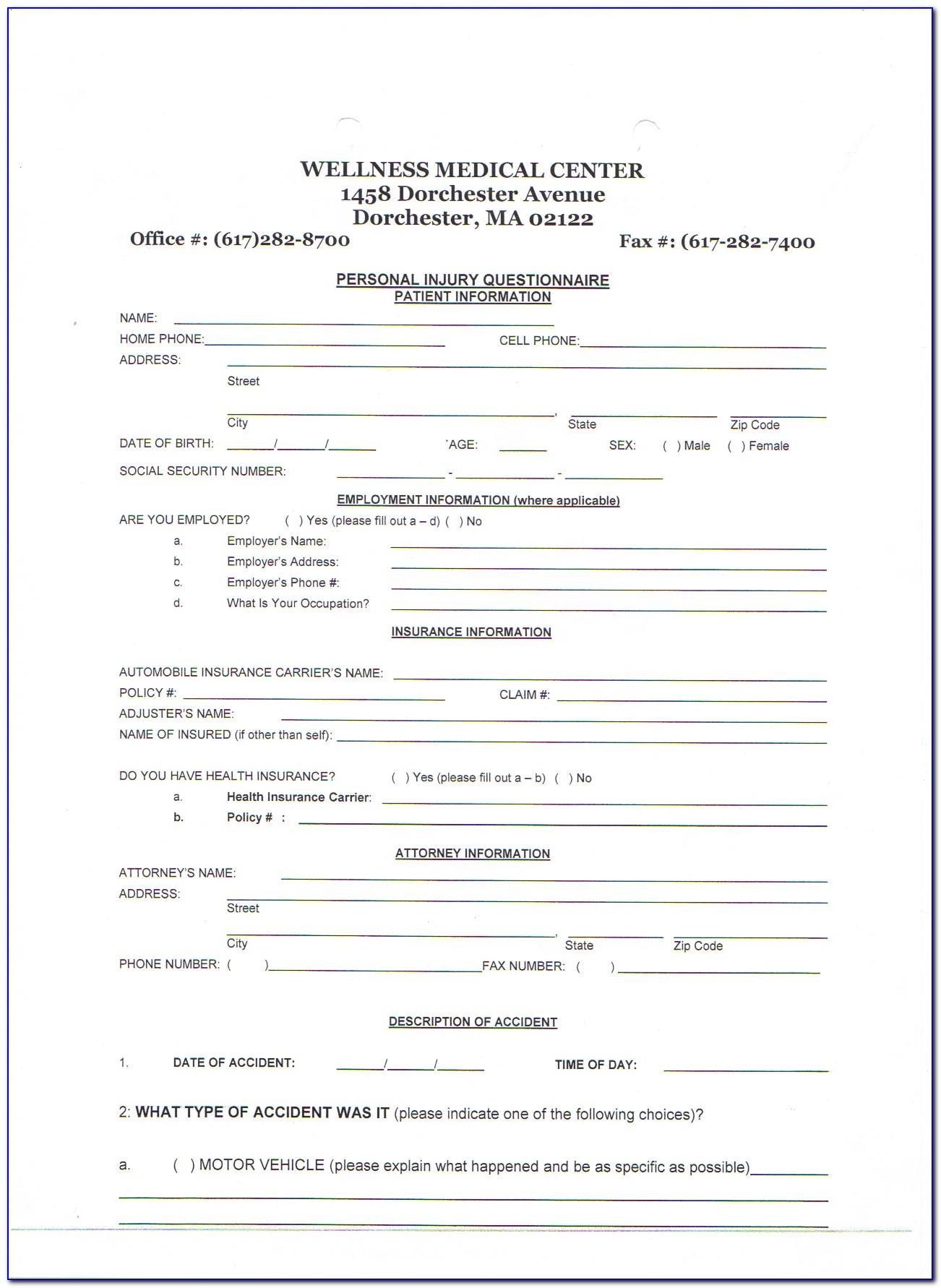Therapy Intake Form Sample