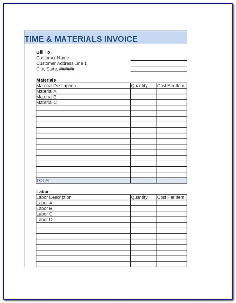 Time And Expense Invoice Template