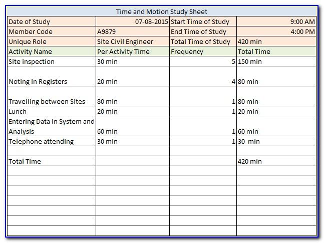 Time And Motion Study Template Example