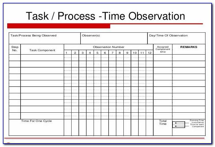 Time And Motion Study Template Xls