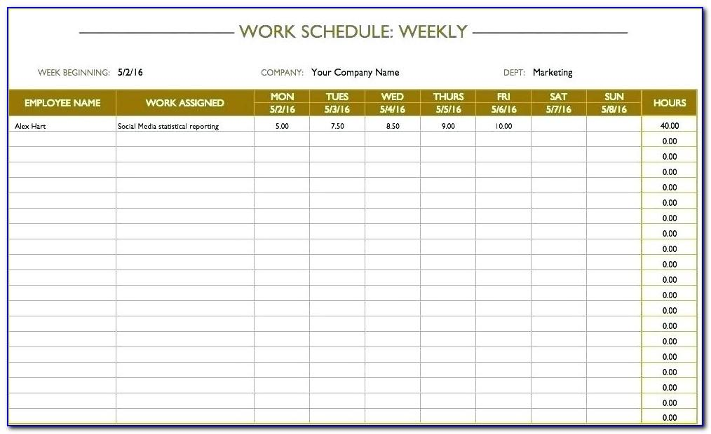 Time Planner Template Excel