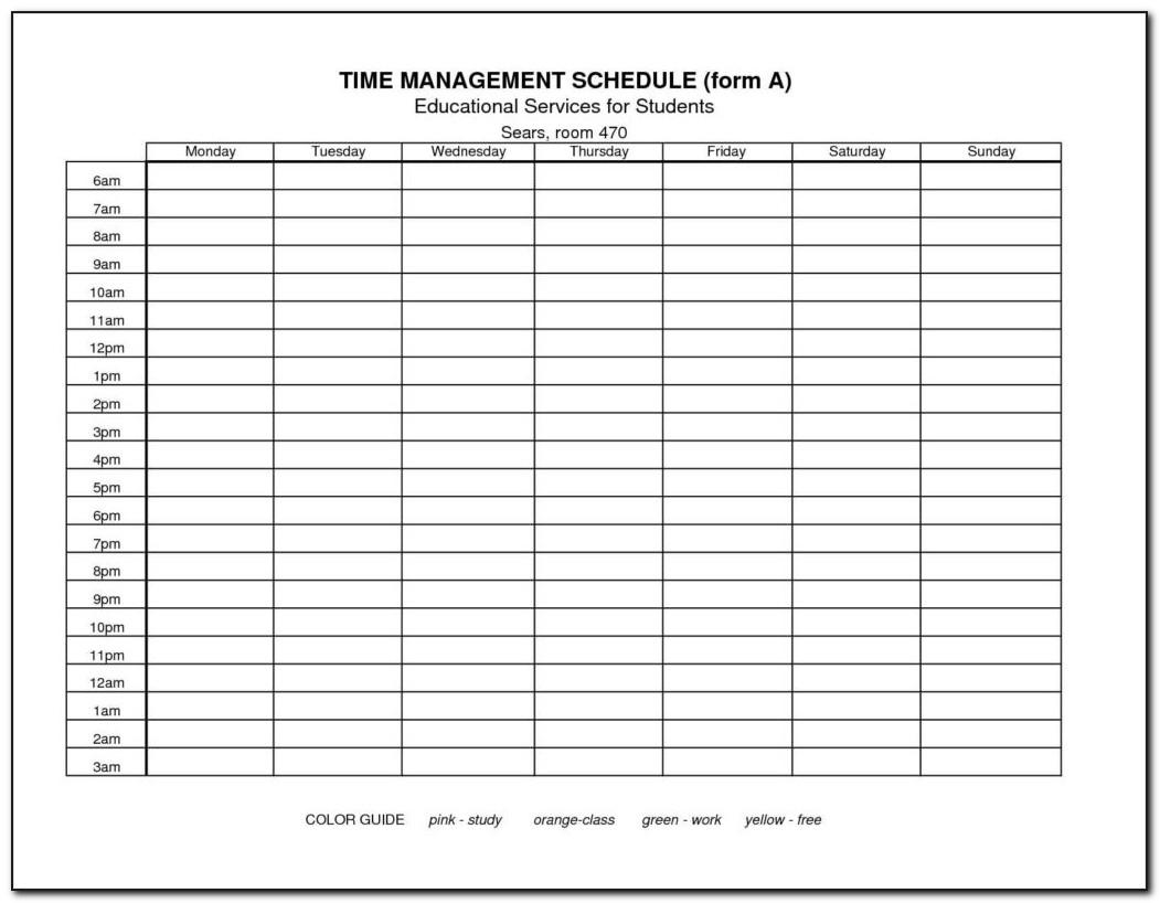Time Scheduling Excel Template