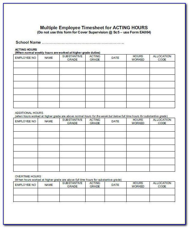 Timesheet Template For Casual Employees