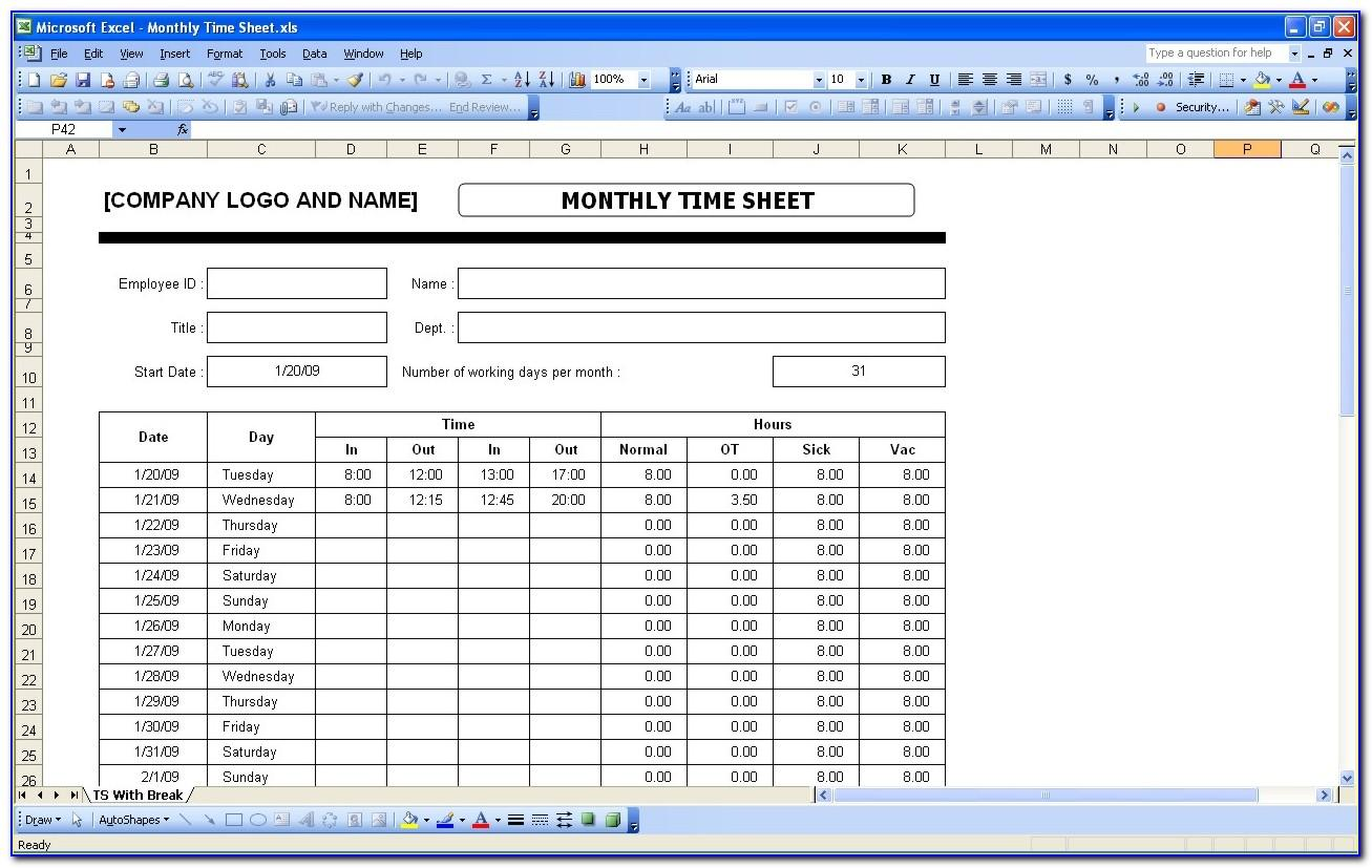 Timesheet Tracking Template Excel