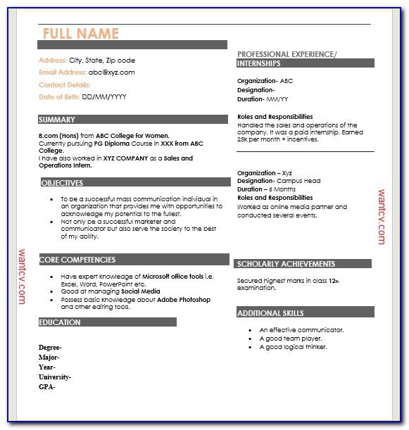 Top 10 Resume Formats For Freshers Download