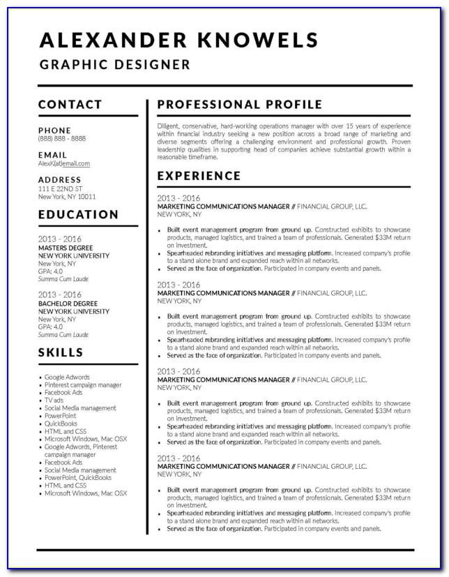 Top Free Resume Templates 2018