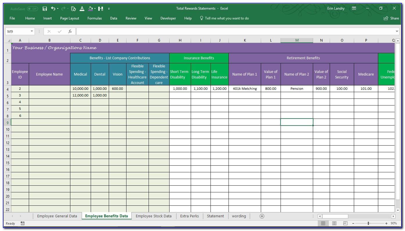 Total Rewards Statement Template Excel