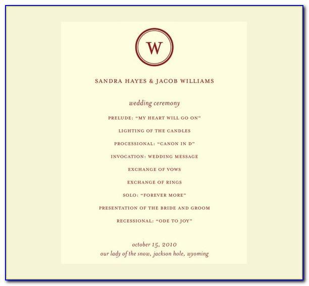 Traditional Wedding Ceremony Program Examples
